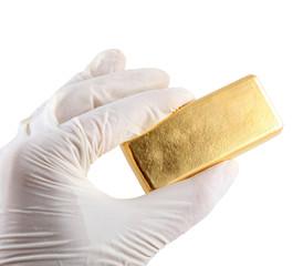 Gold ingot. Real photo
