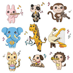 cartoon animal play music  icon