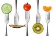 gesunde speisen auf gabeln