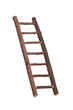 Inclined wooden ladder