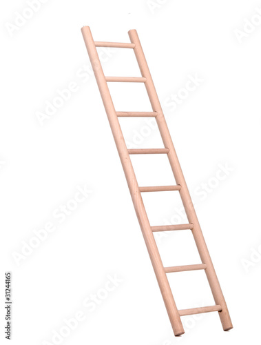 Sideview of a wooden inclined ladder