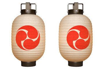 Paper Lantern (Red Tomoe) with clipping path