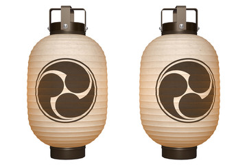 Paper Lantern (Black Tomoe) with clipping path
