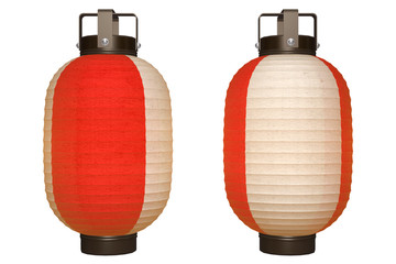 Paper Lantern (red&white) with clipping path