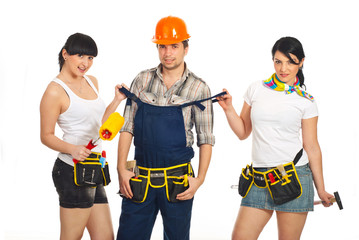 Sexy workers women with workman