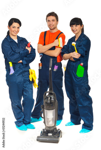 Cleaning service workers team