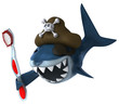 Requin pirate et brosse à dents