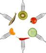 gesunde speisen auf gabeln / kreisförmig angeordnet