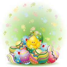 Easter Chick i jajka zdobione-Cute Easter chick w Egg-wektor