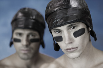Portrait of two rugby players