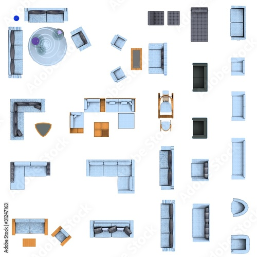 floor plan living room furniture set by Magda Fischer