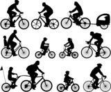 bicyclists silhouettes collection poster