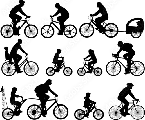 Fototapeta bicyclists silhouettes collection