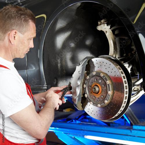 Checking the brake of a car