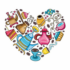 Heart shaped: coffee, tea, mate related objects