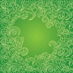 vector floral frame in green color