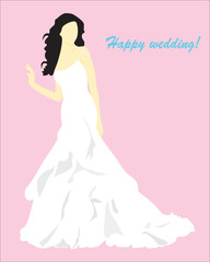 Background. Abstraction. A card with the girl in a wedding dress
