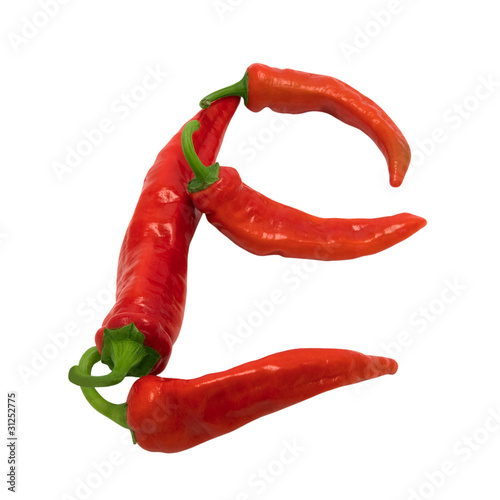 Letter E composed of chili peppers