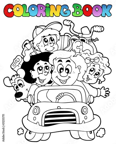 Coloring book with family in car
