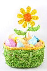 easter colorful eggs with flower