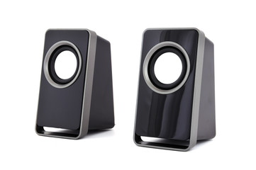 two computer speakers