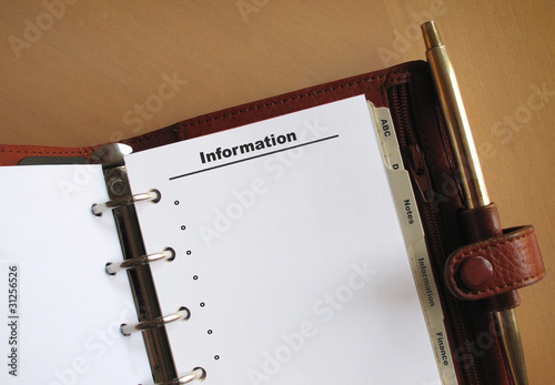 Business concepts Information list in a personal organizer