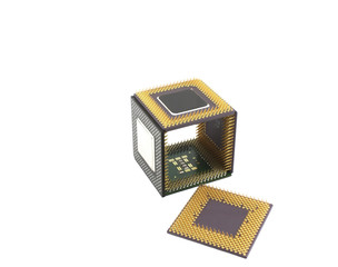 Microprocessors in the form of a cube over white
