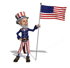 Uncle Sam Displays the US Flag - 3D render