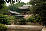 temple by lake and forest seoul south korea asia poster