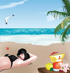ragazza in spiaggia con cappello e cocktail