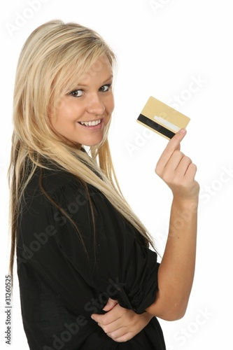 Blonde Beautiful Woman with Credit Card