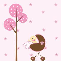 Baby Girl in Stroller