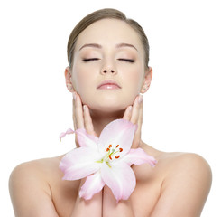 Serene wellness girl with flower