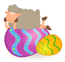 Easter sheep with colored egg. Easter card