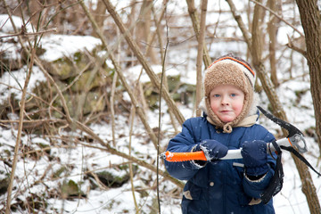 Small boy with ice axe