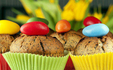 easter  muffins topped with sugar egg
