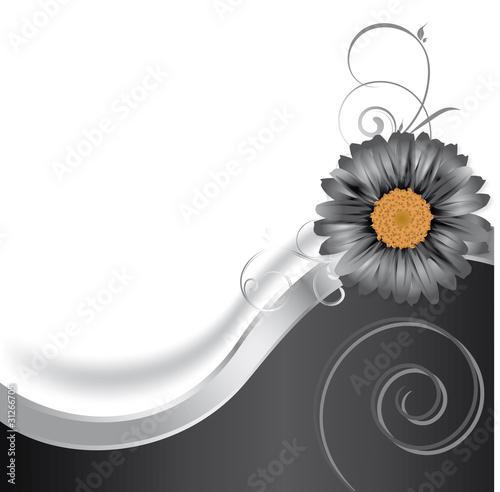 Schwarze Blüte mit Welle und Spirale