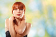 summer teen girl beautiful freckles redheaded over green nature