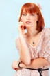 summer teen girl beautiful freckles redheaded over blue