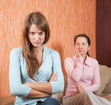 daughter and mother having quarrel