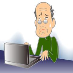 コンピューターと老人(おじいちゃん)