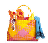 bag with beach items poster