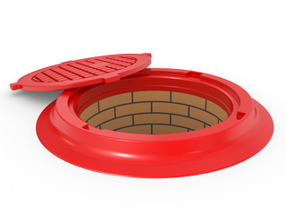 canalization red manhole