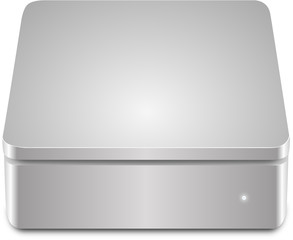 Aluminium external hard disk isolated on white