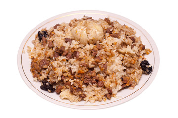 Caucasian traditional pilaf. Rice with meat