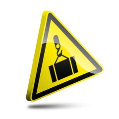 3d loading crane warning sign