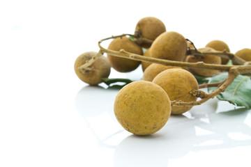 Tropical longan fruit isolated on white background