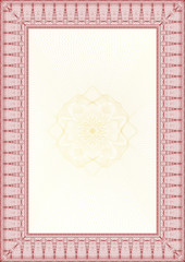 Golden and Red Classic guilloche border for diploma or certifica