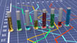 Colorful cylindrical bar graph. Linear chart.