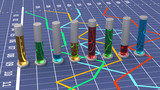 Colorful cylindrical bar graph. Linear chart. poster